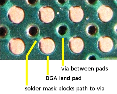BGA on HASL close with vias between pads