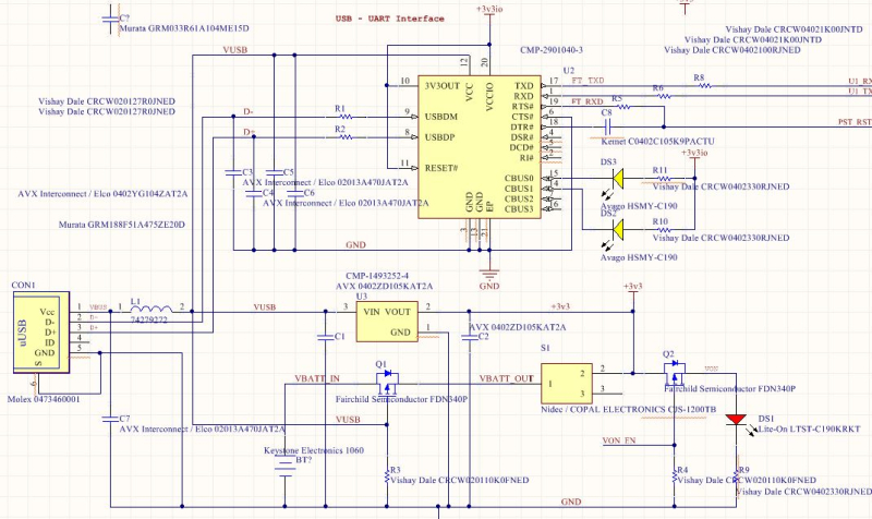 USB and Pwr section schematic